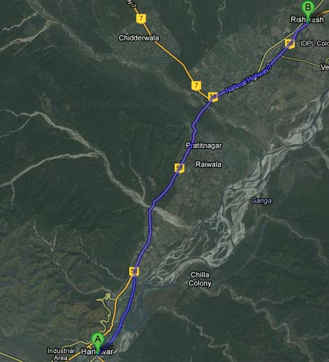 Road Map Haridwar to Rishikesh